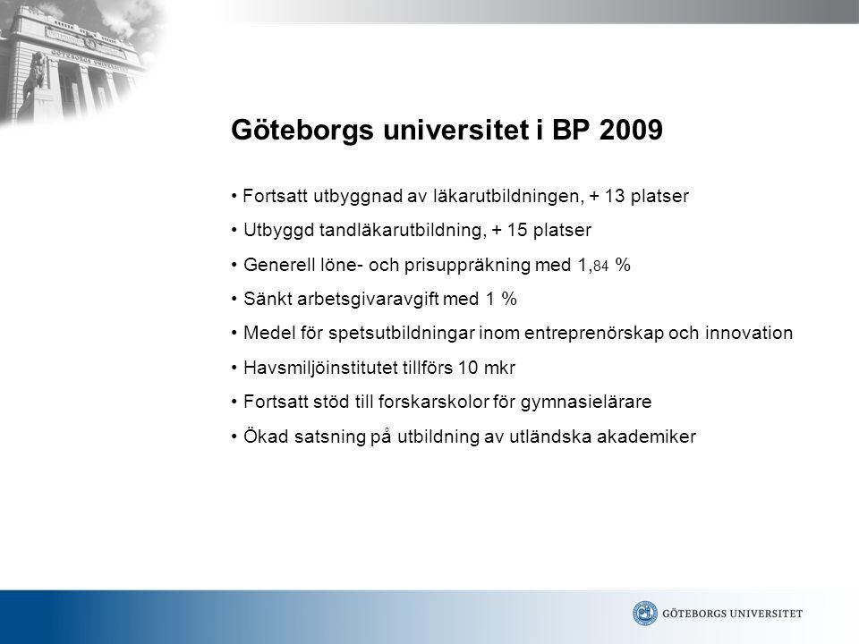 P-O Rehnquist1 Göteborgs universitet i BP 2009 Fortsatt utbyggnad av läkarutbildningen, + 13 platser Utbyggd tandläkarutbildning, + 15 platser Generell löne- och prisuppräkning med 1, 84 % Sänkt arbetsgivaravgift med 1 % Medel för spetsutbildningar inom entreprenörskap och innovation Havsmiljöinstitutet tillförs 10 mkr Fortsatt stöd till forskarskolor för gymnasielärare Ökad satsning på utbildning av utländska akademiker