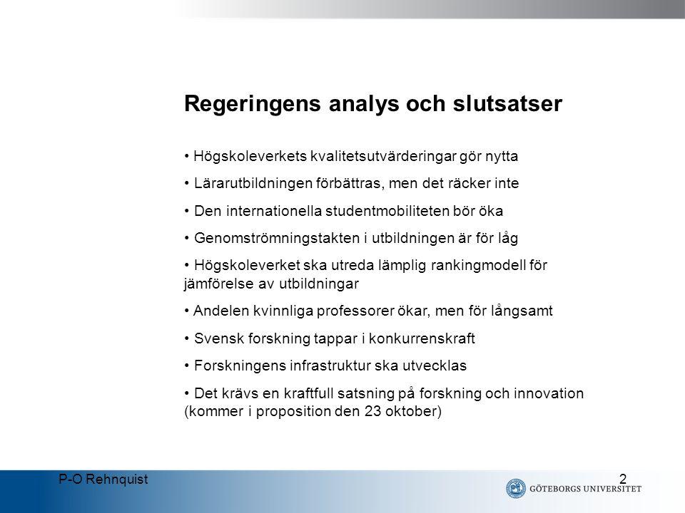 P-O Rehnquist3 Fyra prioriterade insatsområden Sverige ska stärkas som forskningsnation Kvaliteten i utbildningen och forskningen ska förbättras Universiteten ska bli mer självständiga Universiteten ska bli mer attraktiva arbetsplatser