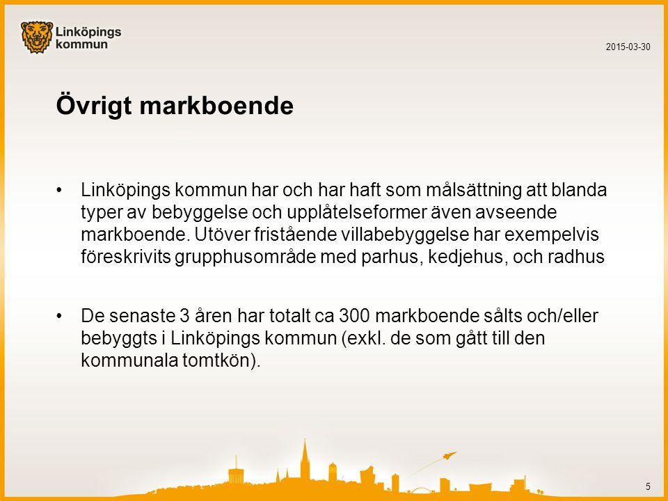 Övrigt markboende Linköpings kommun har och har haft som målsättning att blanda typer av bebyggelse och upplåtelseformer även avseende markboende.