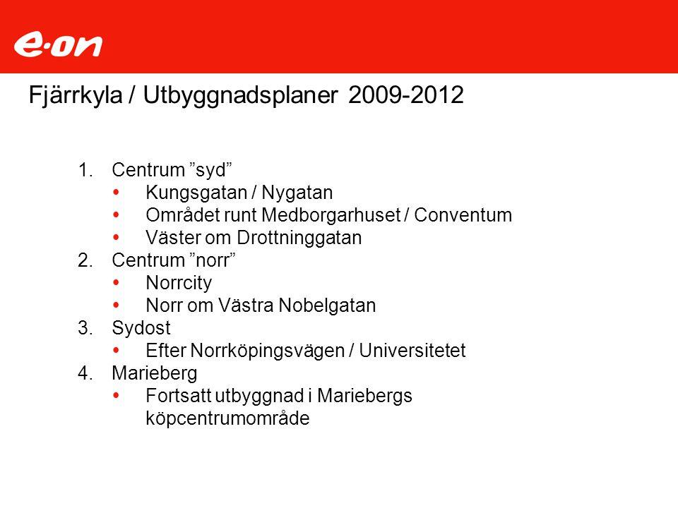 """Fjärrkyla / Utbyggnadsplaner 2009-2012 1.Centrum """"syd""""  Kungsgatan / Nygatan  Området runt Medborgarhuset / Conventum  Väster om Drottninggatan 2.C"""