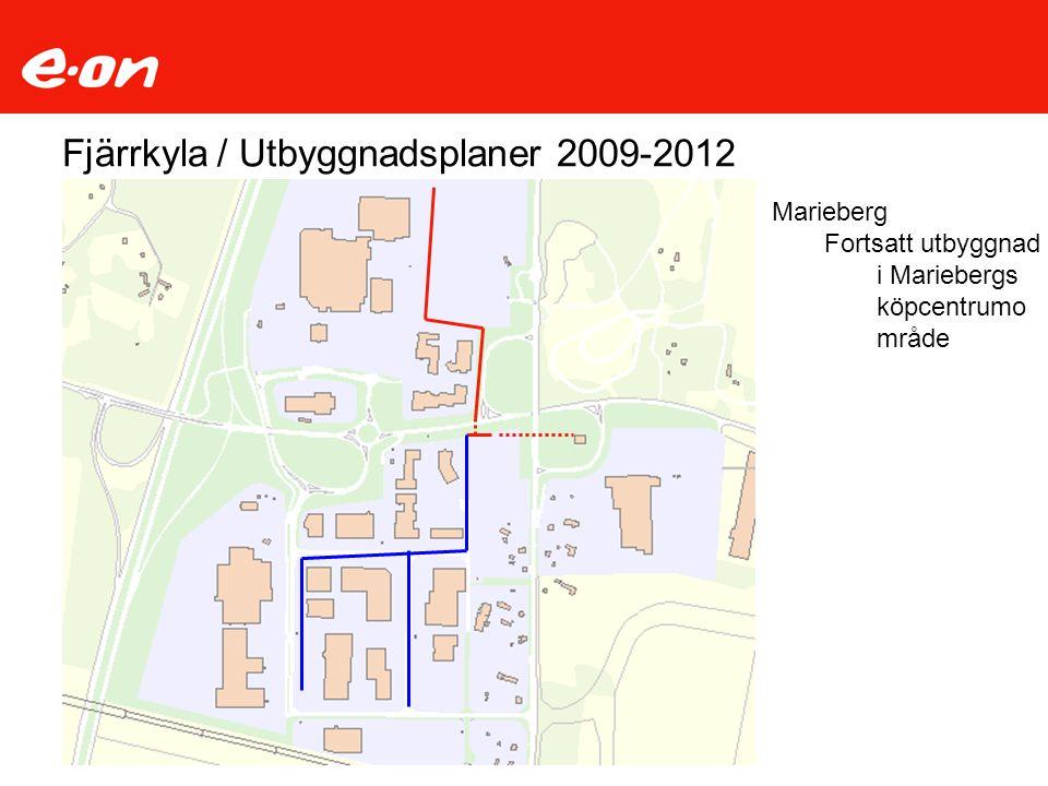 Fjärrkyla / Utbyggnadsplaner 2009-2012 Marieberg Fortsatt utbyggnad i Mariebergs köpcentrumo mråde