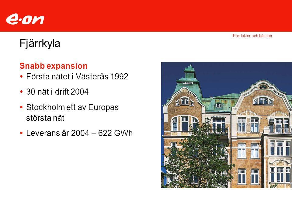 Fjärrkyla Produkter och tjänster Snabb expansion  Första nätet i Västerås 1992  30 nät i drift 2004  Stockholm ett av Europas största nät  Leverans år 2004 – 622 GWh