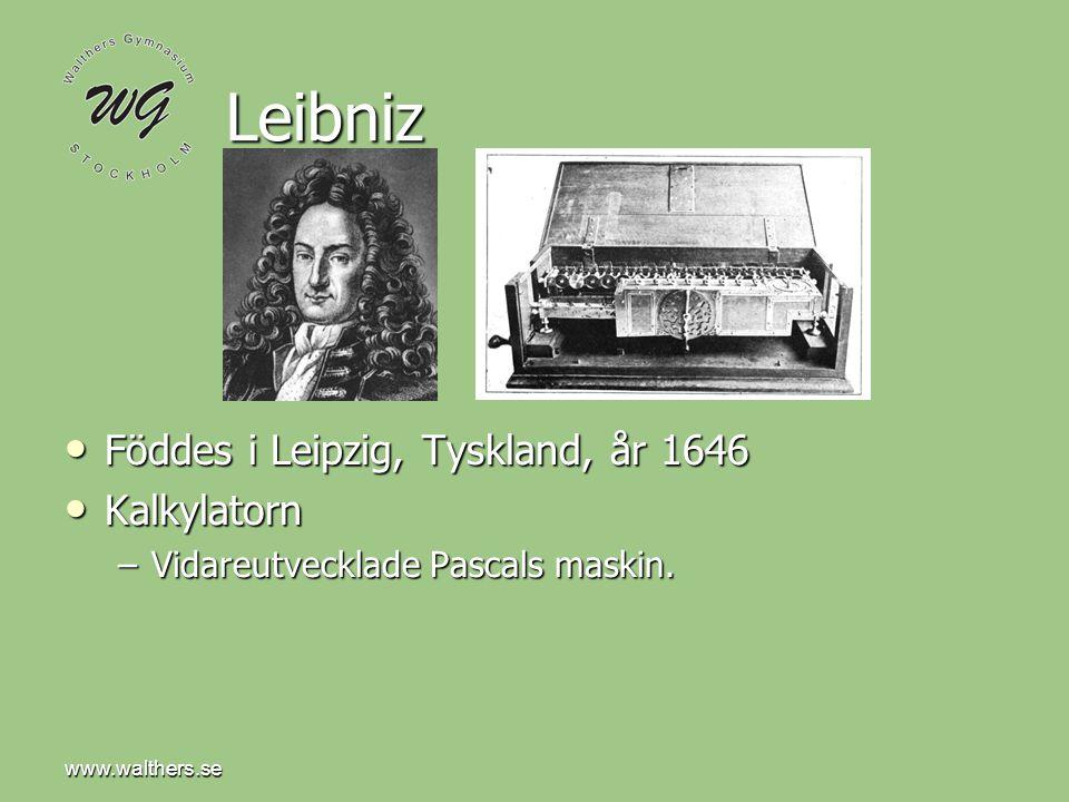 www.walthers.se Charles Babbage Datorns anfader Datorns anfader Född London år 1791 Född London år 1791 Uppfann en analytisk maskin som automatiskt kunde beräkna matematiska tabeller.