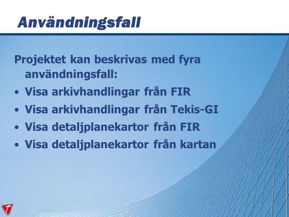 Projektet kan beskrivas med fyra användningsfall: Visa arkivhandlingar från FIR Visa arkivhandlingar från Tekis-GI Visa detaljplanekartor från FIR Vis