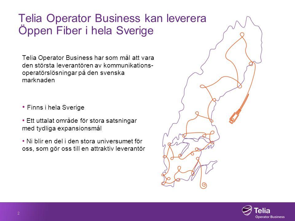 Telia Operator Business kan leverera Öppen Fiber i hela Sverige Telia Operator Business har som mål att vara den största leverantören av kommunikations- operatörslösningar på den svenska marknaden Finns i hela Sverige Ett uttalat område för stora satsningar med tydliga expansionsmål Ni blir en del i den stora universumet för oss, som gör oss till en attraktiv leverantör 2