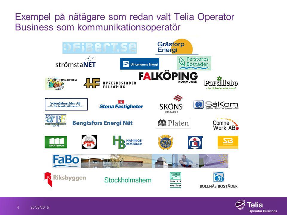 Exempel på nätägare som redan valt Telia Operator Business som kommunikationsoperatör 30/03/20154