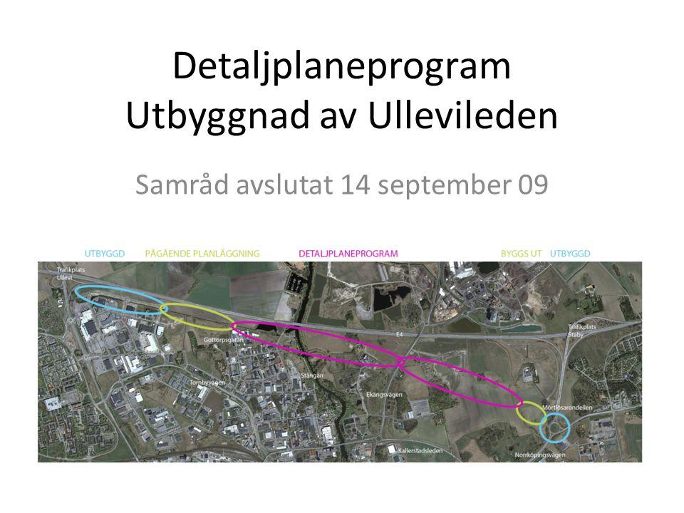 Detaljplaneprogram Utbyggnad av Ullevileden Samråd avslutat 14 september 09