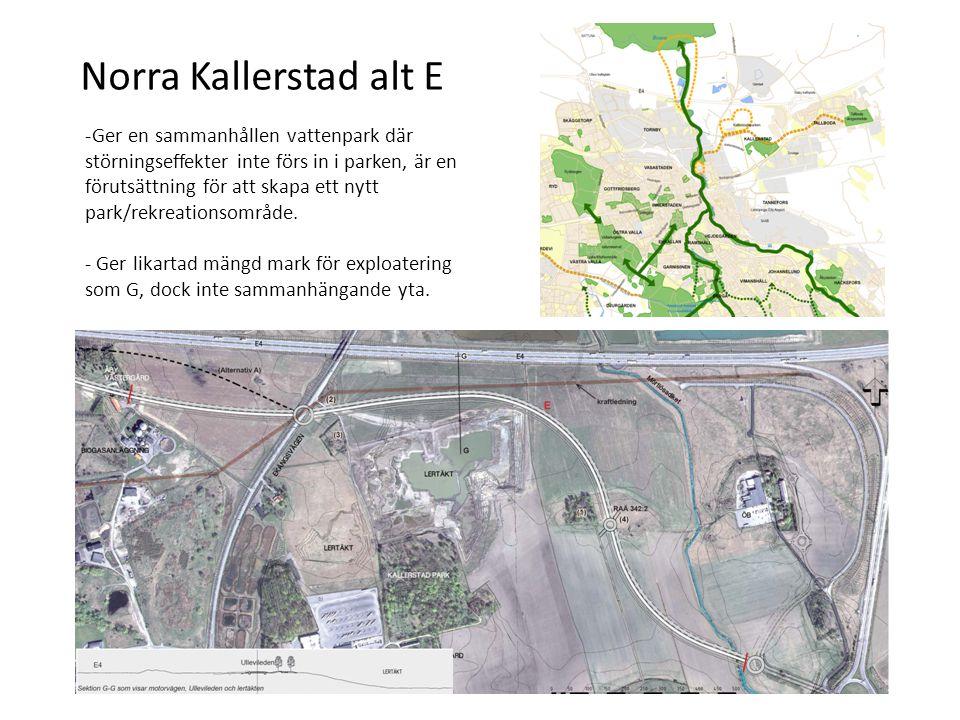 Norra Kallerstad alt E -Ger en sammanhållen vattenpark där störningseffekter inte förs in i parken, är en förutsättning för att skapa ett nytt park/rekreationsområde.