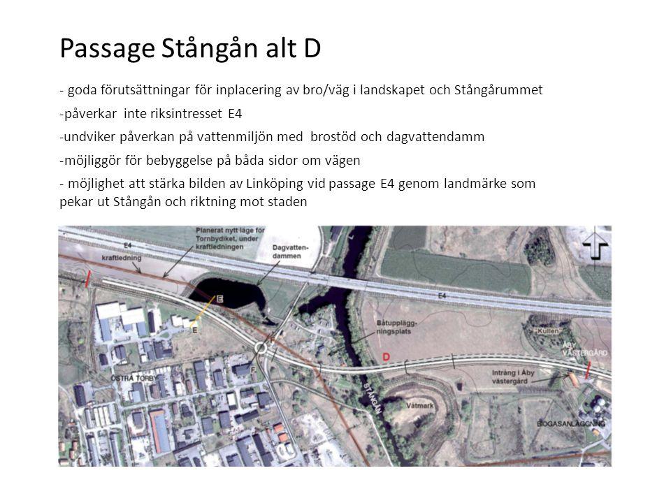 Passage Stångån alt D - goda förutsättningar för inplacering av bro/väg i landskapet och Stångårummet -påverkar inte riksintresset E4 -undviker påverkan på vattenmiljön med brostöd och dagvattendamm -möjliggör för bebyggelse på båda sidor om vägen - möjlighet att stärka bilden av Linköping vid passage E4 genom landmärke som pekar ut Stångån och riktning mot staden