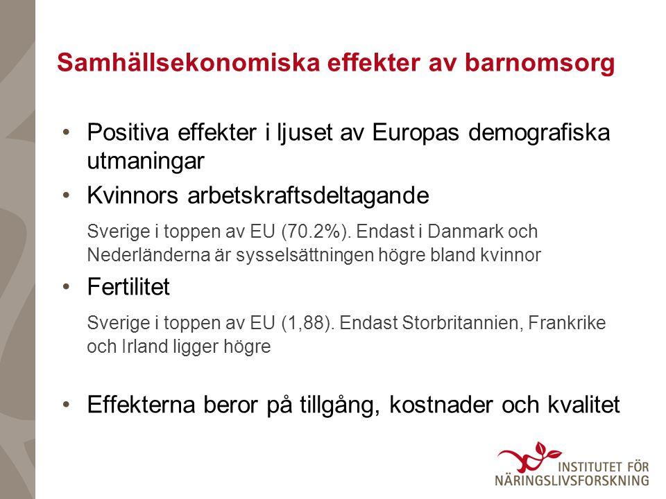 Samhällsekonomiska effekter av barnomsorg Positiva effekter i ljuset av Europas demografiska utmaningar Kvinnors arbetskraftsdeltagande Sverige i topp