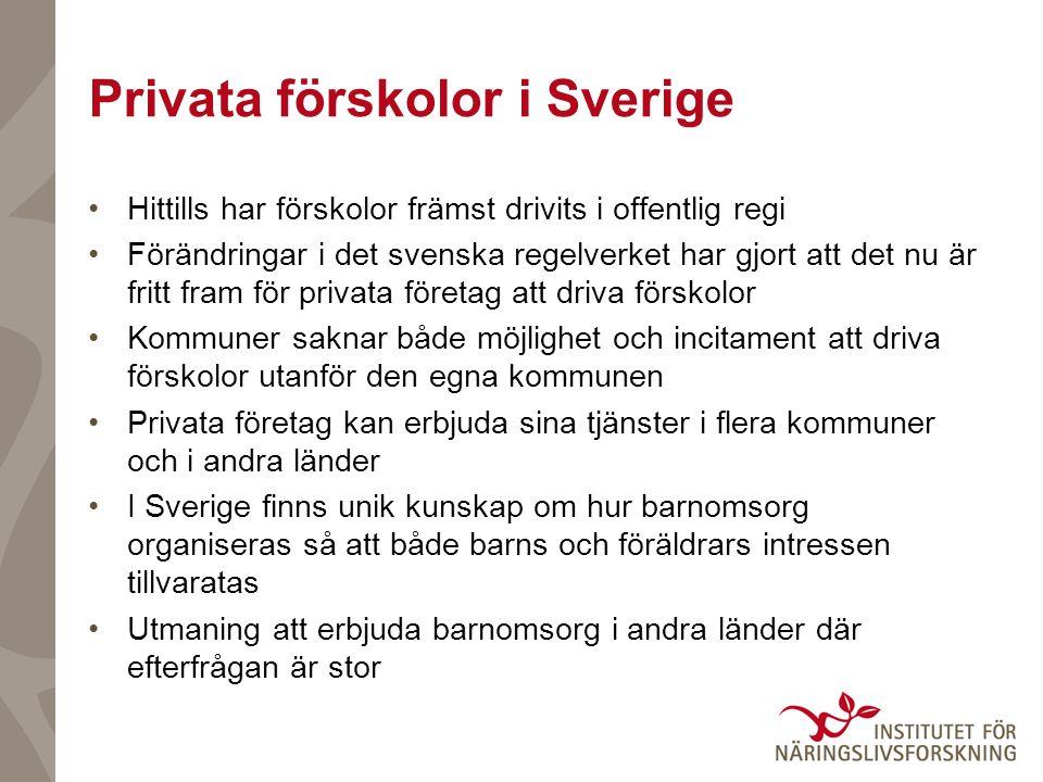 Privata förskolor i Sverige Hittills har förskolor främst drivits i offentlig regi Förändringar i det svenska regelverket har gjort att det nu är frit