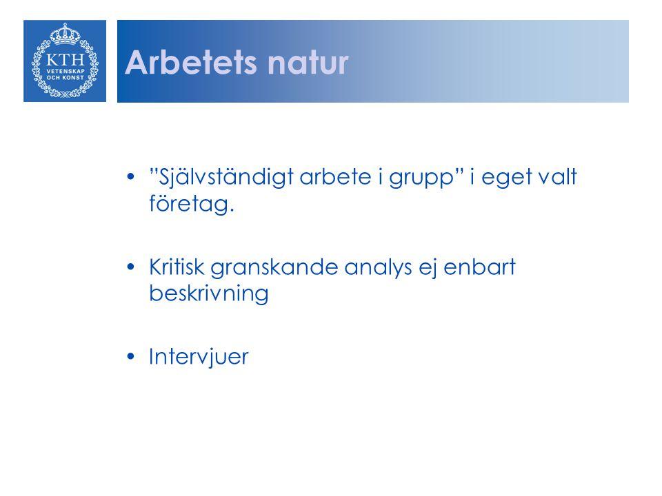 """Arbetets natur """"Självständigt arbete i grupp"""" i eget valt företag. Kritisk granskande analys ej enbart beskrivning Intervjuer"""