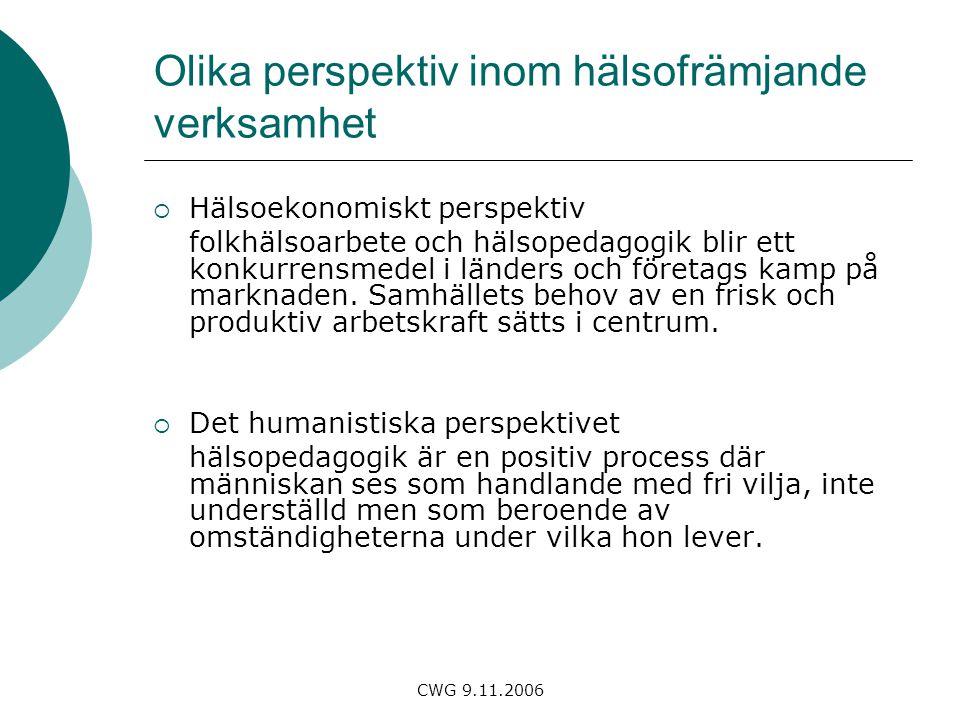 CWG 9.11.2006 Olika perspektiv inom hälsofrämjande verksamhet  Hälsoekonomiskt perspektiv folkhälsoarbete och hälsopedagogik blir ett konkurrensmedel i länders och företags kamp på marknaden.