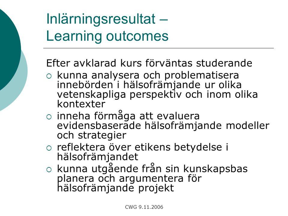 CWG 9.11.2006 Inlärningsresultat – Learning outcomes Efter avklarad kurs förväntas studerande  kunna analysera och problematisera innebörden i hälsofrämjande ur olika vetenskapliga perspektiv och inom olika kontexter  inneha förmåga att evaluera evidensbaserade hälsofrämjande modeller och strategier  reflektera över etikens betydelse i hälsofrämjandet  kunna utgående från sin kunskapsbas planera och argumentera för hälsofrämjande projekt