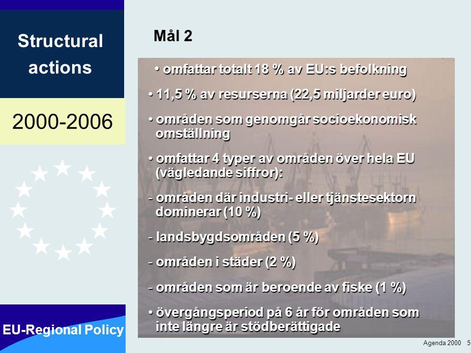 2000-2006 EU-Regional Policy Structural actions Agenda 2000 16 Befolkning som omfattas av mål 1 och 2: 1994-99 respektive 2000-2006 1994-1999 2000-2006 %