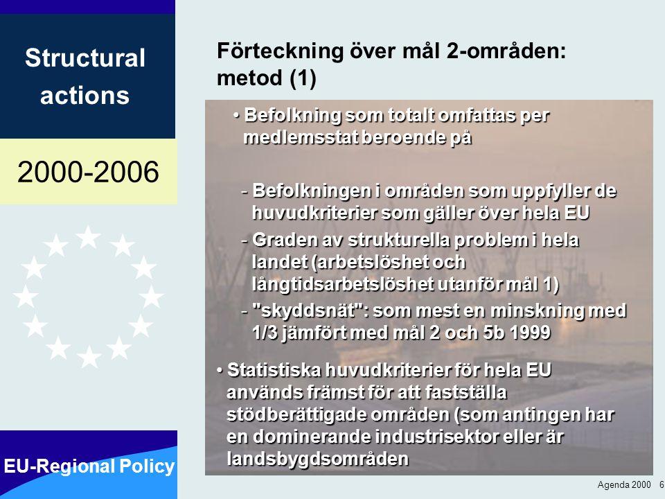 2000-2006 EU-Regional Policy Structural actions Agenda 2000 6 Förteckning över mål 2-områden: metod (1) Befolkning som totalt omfattas per medlemsstat beroende på Befolkning som totalt omfattas per medlemsstat beroende på - Befolkningen i områden som uppfyller de huvudkriterier som gäller över hela EU - Graden av strukturella problem i hela landet (arbetslöshet och långtidsarbetslöshet utanför mål 1) - skyddsnät : som mest en minskning med 1/3 jämfört med mål 2 och 5b 1999 Statistiska huvudkriterier för hela EU används främst för att fastställa stödberättigade områden (som antingen har en dominerande industrisektor eller är landsbygdsområden Statistiska huvudkriterier för hela EU används främst för att fastställa stödberättigade områden (som antingen har en dominerande industrisektor eller är landsbygdsområden