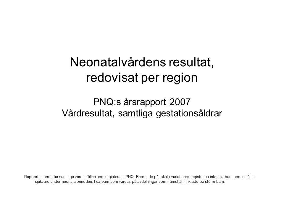 Neonatalvårdens resultat, redovisat per region PNQ:s årsrapport 2007 Vårdresultat, samtliga gestationsåldrar Rapporten omfattar samtliga vårdtillfällen som registeras i PNQ.