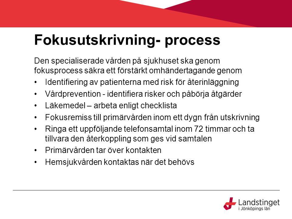 Fokusutskrivning- process Den specialiserade vården på sjukhuset ska genom fokusprocess säkra ett förstärkt omhändertagande genom Identifiering av pat
