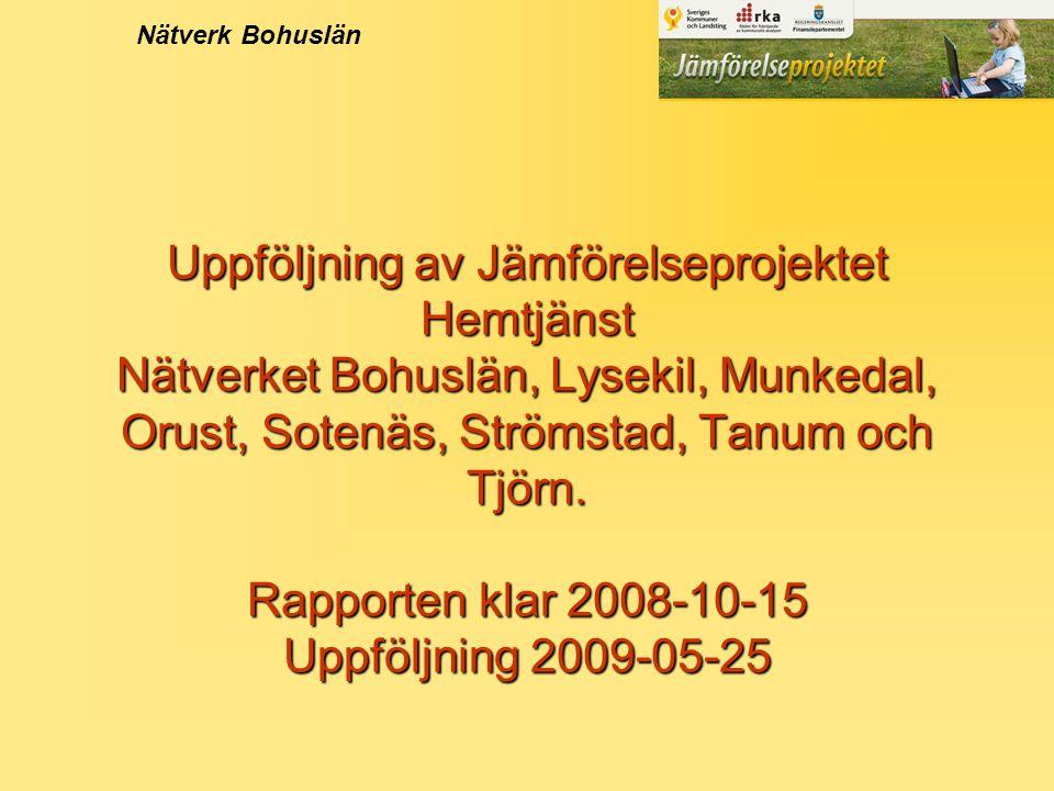 Uppföljning av Jämförelseprojektet Hemtjänst Nätverket Bohuslän, Lysekil, Munkedal, Orust, Sotenäs, Strömstad, Tanum och Tjörn.