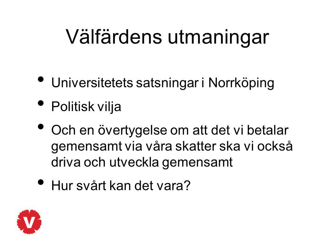 Välfärdens utmaningar Universitetets satsningar i Norrköping Politisk vilja Och en övertygelse om att det vi betalar gemensamt via våra skatter ska vi också driva och utveckla gemensamt Hur svårt kan det vara