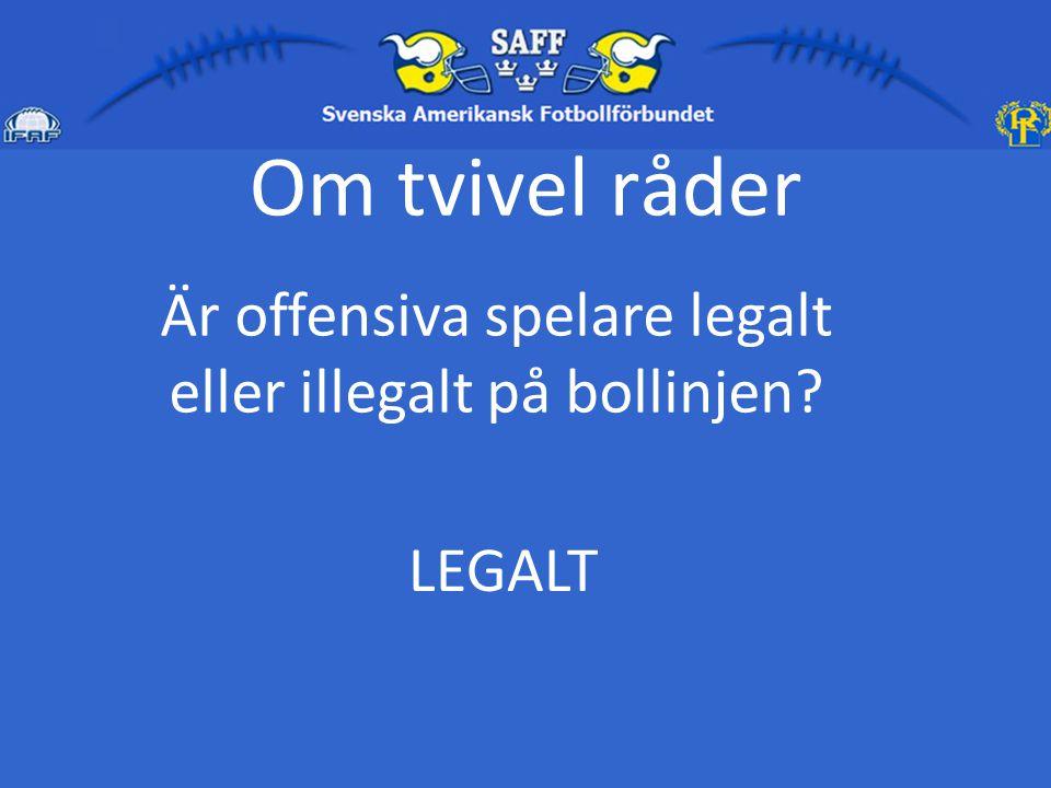 Om tvivel råder Är offensiva spelare legalt eller illegalt i det offensiva bakfältet? LEGALT