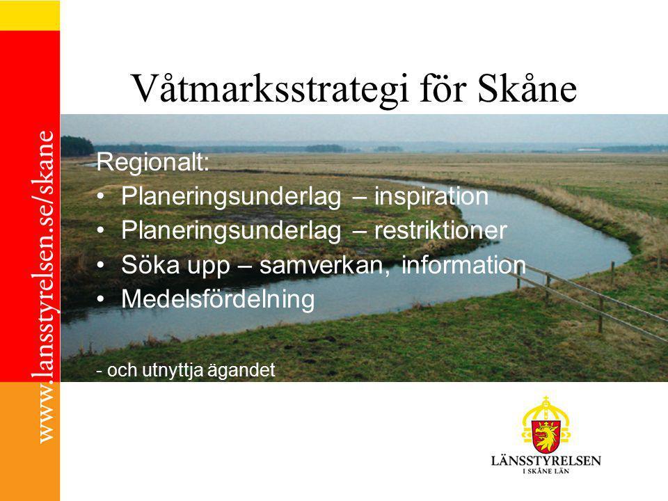 Våtmarksstrategi för Skåne Regionalt: Planeringsunderlag – inspiration Planeringsunderlag – restriktioner Söka upp – samverkan, information Medelsfördelning - och utnyttja ägandet