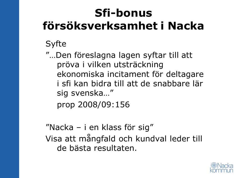 Sfi-bonus försöksverksamhet i Nacka Förstärka samarbetet mellan -sfi-eleverna -sfi-anordnarna -Nacka kommun i arbetet med kvalitetshöjande insatser och ansökan om sfi-bonus.
