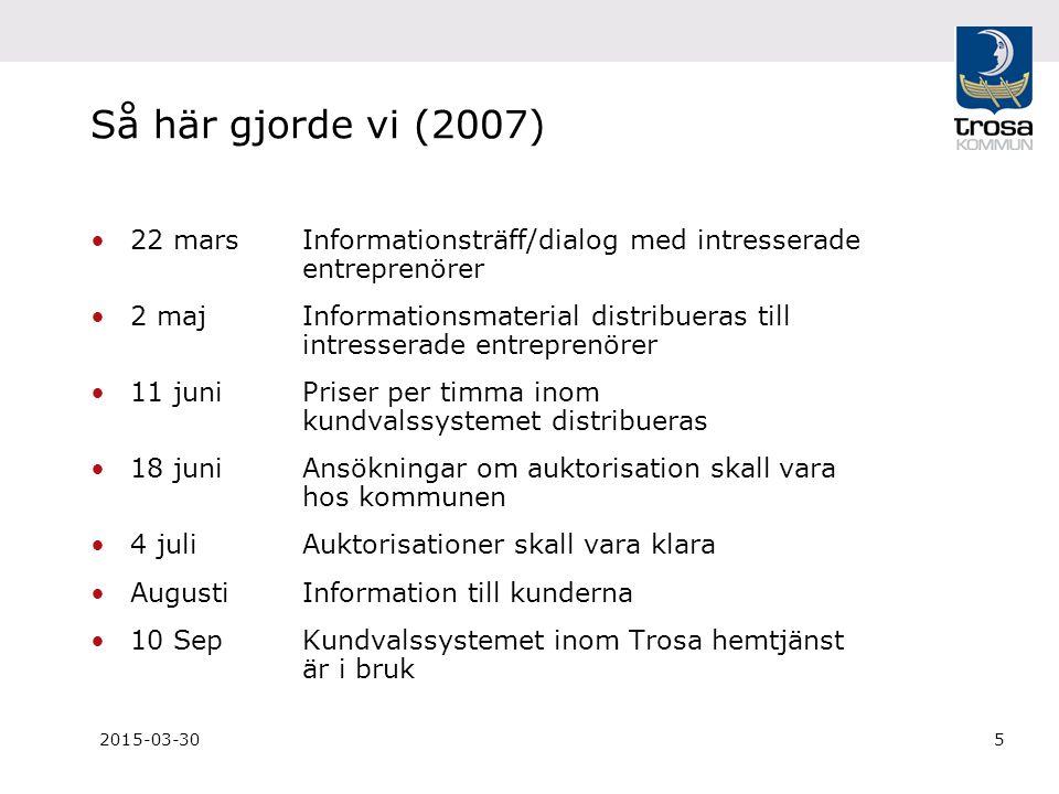 2015-03-305 Så här gjorde vi (2007) 22 marsInformationsträff/dialog med intresserade entreprenörer 2 maj Informationsmaterial distribueras till intres