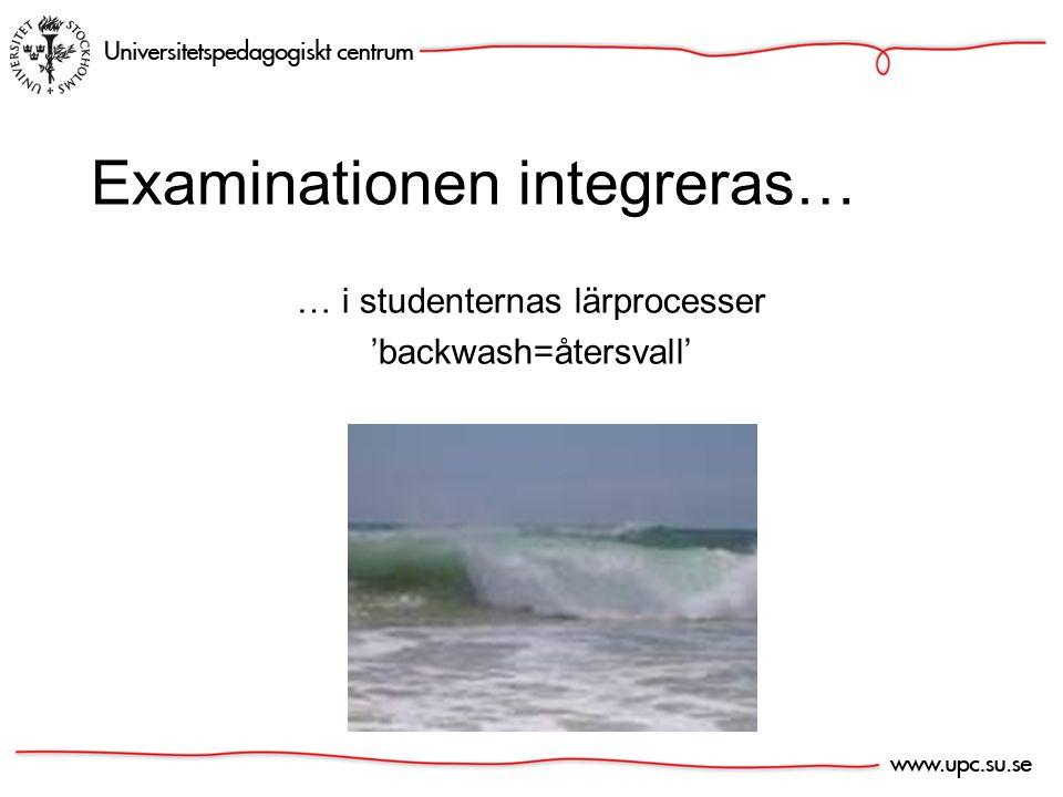 Examinationen integreras… … i studenternas lärprocesser 'backwash=återsvall'