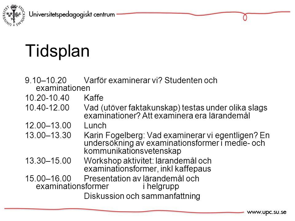 Tidsplan 9.10–10.20Varför examinerar vi.