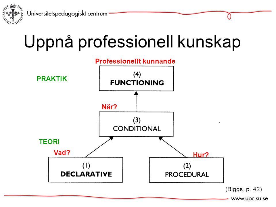 (Biggs, p. 42) Uppnå professionell kunskap Vad Hur När Professionellt kunnande TEORI PRAKTIK