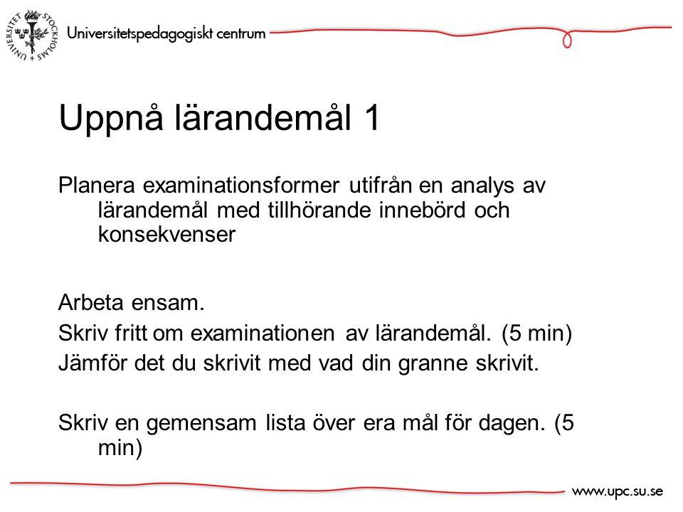 Examination Varför? Brainstorm (5 min)