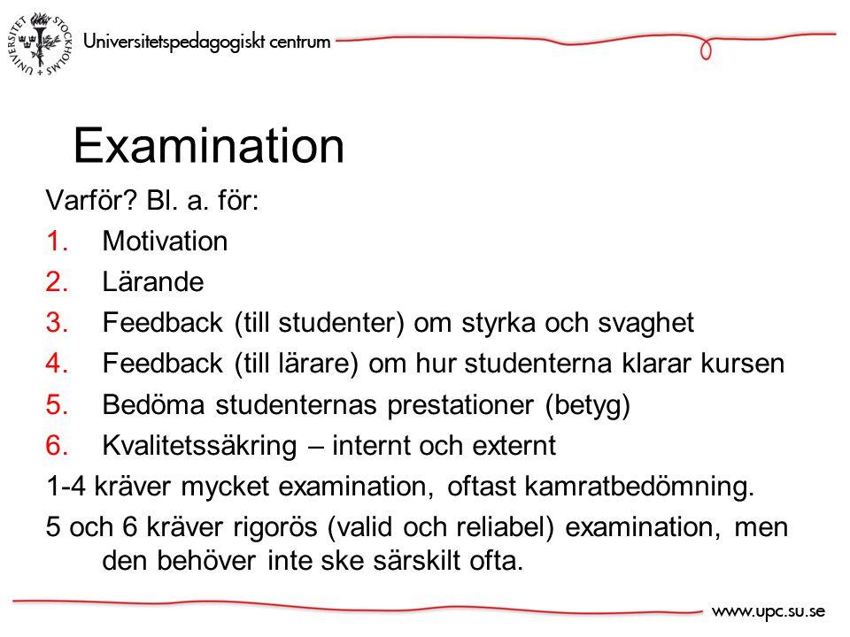 Undervisnings- och läraktiviteter Kursmål / syften Lärandemål Examinations- former.