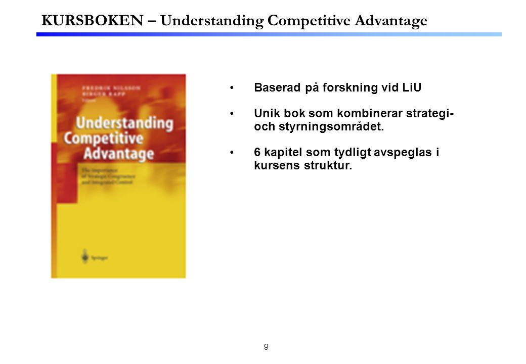 9 KURSBOKEN – Understanding Competitive Advantage Baserad på forskning vid LiU Unik bok som kombinerar strategi- och styrningsområdet. 6 kapitel som t