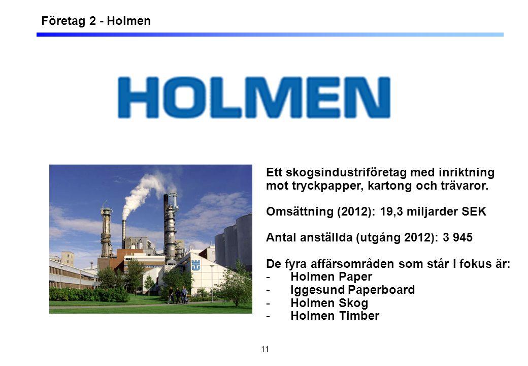 11 Företag 2 - Holmen Ett skogsindustriföretag med inriktning mot tryckpapper, kartong och trävaror. Omsättning (2012): 19,3 miljarder SEK Antal anstä