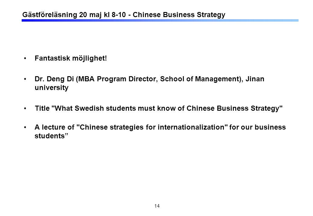 Gästföreläsning 20 maj kl 8-10 - Chinese Business Strategy Fantastisk möjlighet! Dr. Deng Di (MBA Program Director, School of Management), Jinan unive