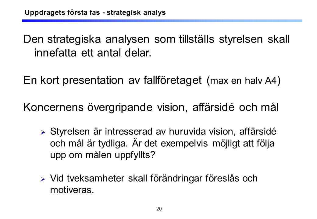 20 Den strategiska analysen som tillställs styrelsen skall innefatta ett antal delar. En kort presentation av fallföretaget ( max en halv A4 ) Koncern