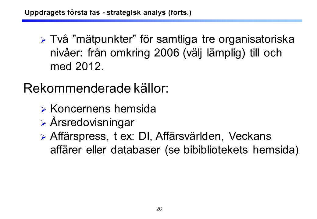 """26  Två """"mätpunkter"""" för samtliga tre organisatoriska nivåer: från omkring 2006 (välj lämplig) till och med 2012. Rekommenderade källor:  Koncernens"""
