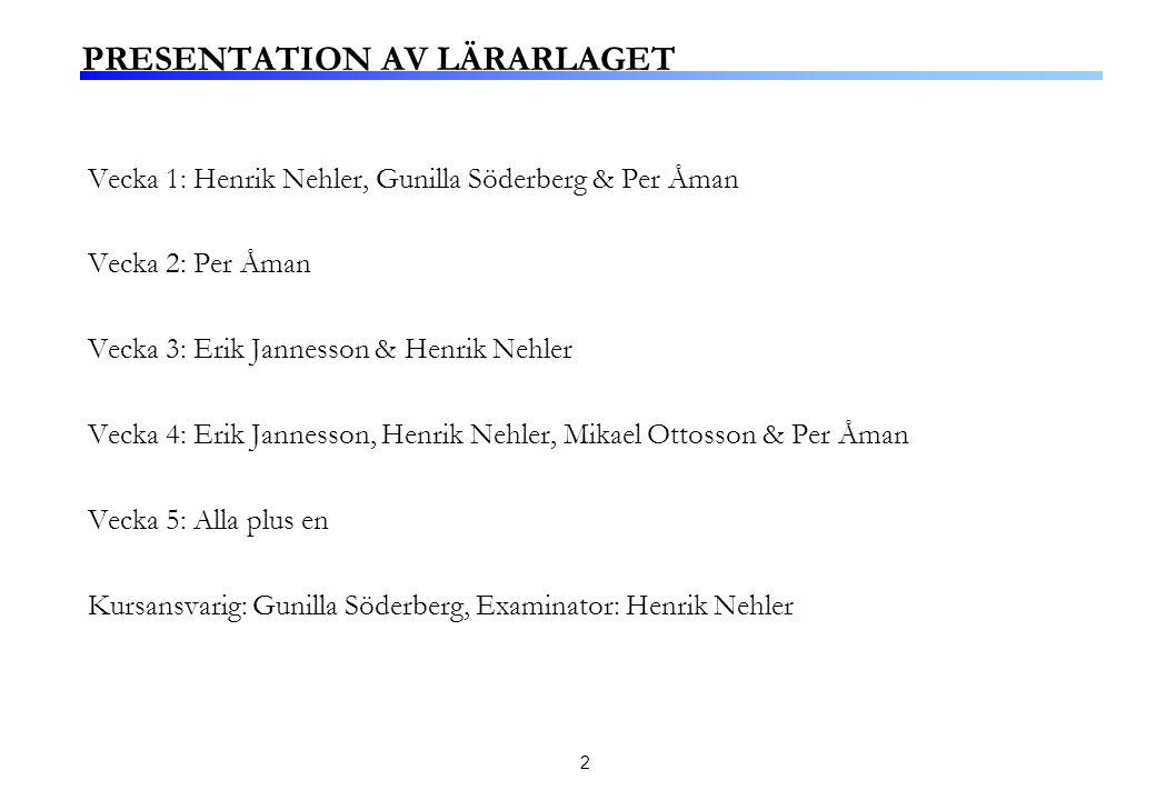2 PRESENTATION AV LÄRARLAGET Vecka 1: Henrik Nehler, Gunilla Söderberg & Per Åman Vecka 2: Per Åman Vecka 3: Erik Jannesson & Henrik Nehler Vecka 4: E