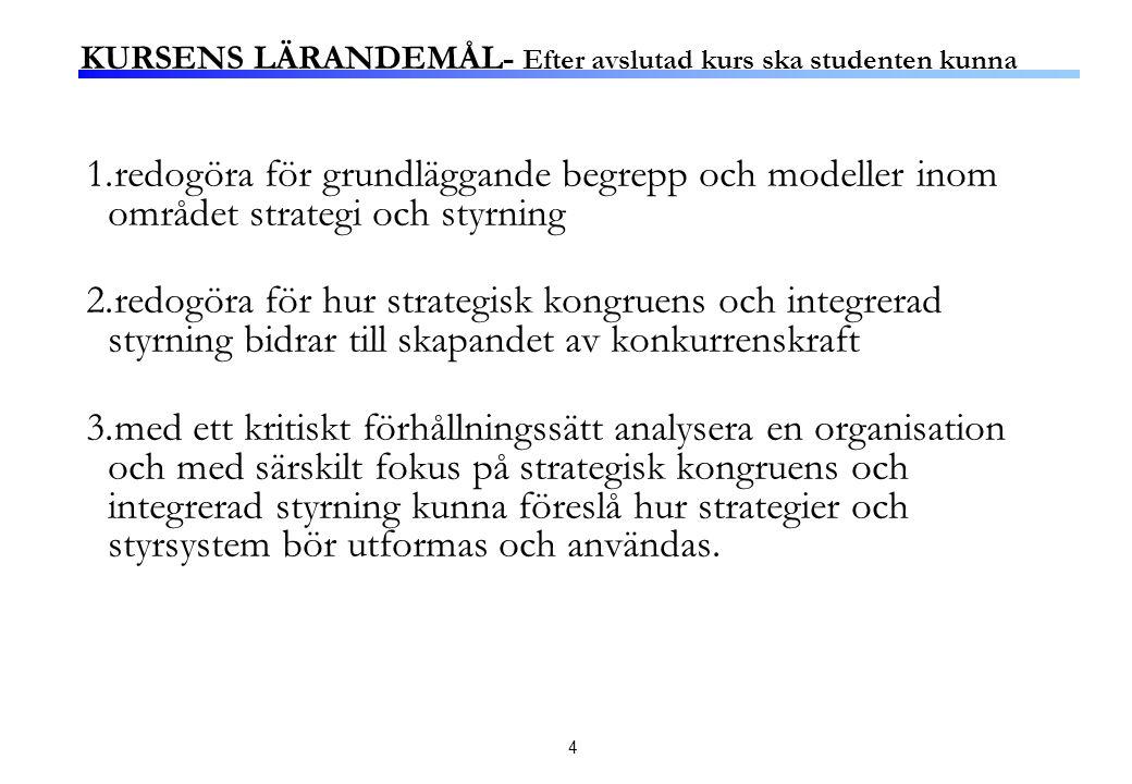 4 KURSENS LÄRANDEMÅL- Efter avslutad kurs ska studenten kunna 1.redogöra för grundläggande begrepp och modeller inom området strategi och styrning 2.redogöra för hur strategisk kongruens och integrerad styrning bidrar till skapandet av konkurrenskraft 3.med ett kritiskt förhållningssätt analysera en organisation och med särskilt fokus på strategisk kongruens och integrerad styrning kunna föreslå hur strategier och styrsystem bör utformas och användas.