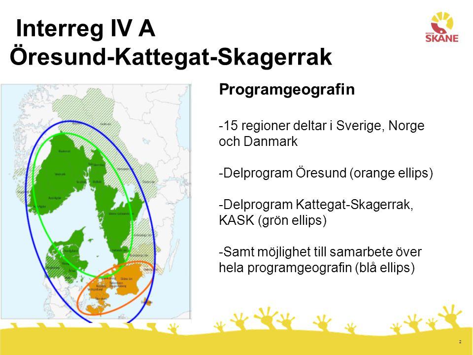2 Interreg IV A Öresund-Kattegat-Skagerrak Programgeografin -15 regioner deltar i Sverige, Norge och Danmark -Delprogram Öresund (orange ellips) -Delprogram Kattegat-Skagerrak, KASK (grön ellips) -Samt möjlighet till samarbete över hela programgeografin (blå ellips)