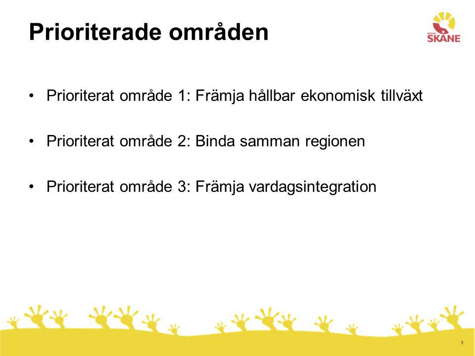 3 Prioriterade områden Prioriterat område 1: Främja hållbar ekonomisk tillväxt Prioriterat område 2: Binda samman regionen Prioriterat område 3: Främja vardagsintegration