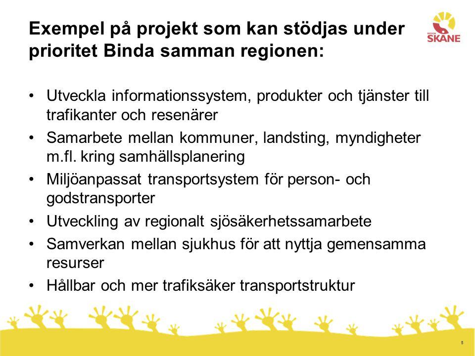 5 Exempel på projekt som kan stödjas under prioritet Binda samman regionen: Utveckla informationssystem, produkter och tjänster till trafikanter och resenärer Samarbete mellan kommuner, landsting, myndigheter m.fl.