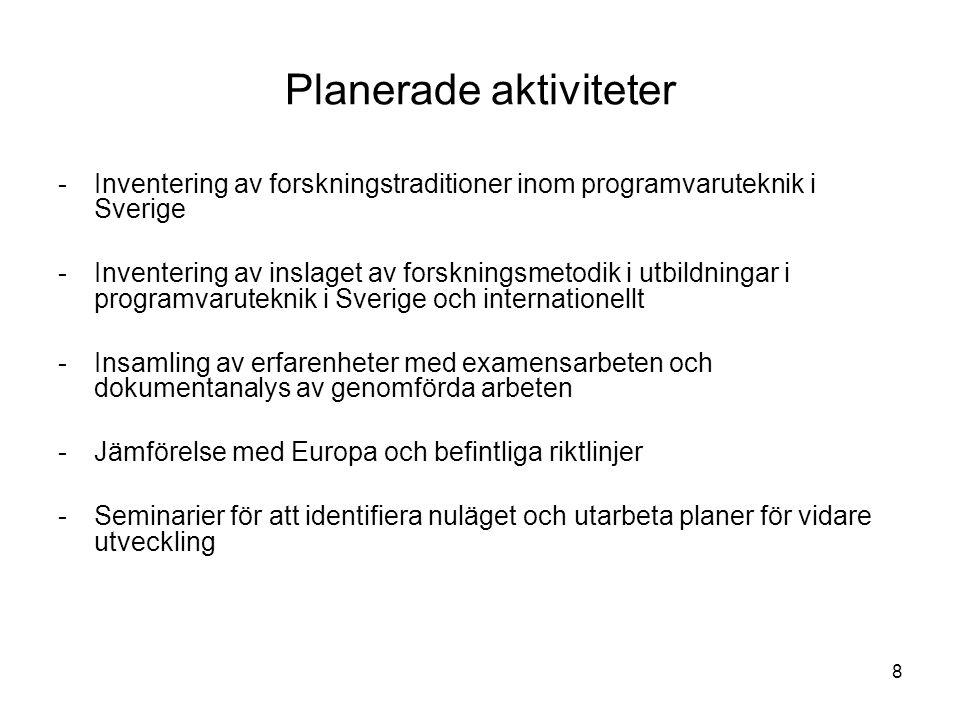 8 Planerade aktiviteter -Inventering av forskningstraditioner inom programvaruteknik i Sverige -Inventering av inslaget av forskningsmetodik i utbildningar i programvaruteknik i Sverige och internationellt -Insamling av erfarenheter med examensarbeten och dokumentanalys av genomförda arbeten -Jämförelse med Europa och befintliga riktlinjer -Seminarier för att identifiera nuläget och utarbeta planer för vidare utveckling