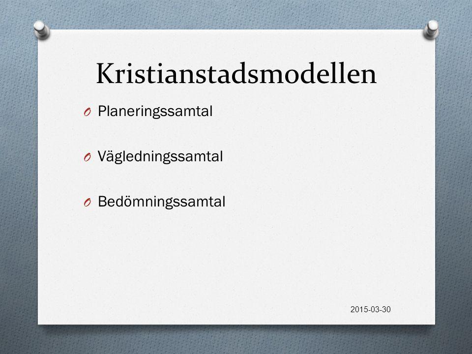 Kristianstadsmodellen O Planeringssamtal O Vägledningssamtal O Bedömningssamtal 2015-03-30