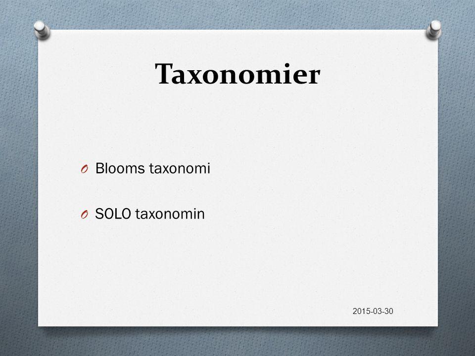 Taxonomier O Blooms taxonomi O SOLO taxonomin 2015-03-30