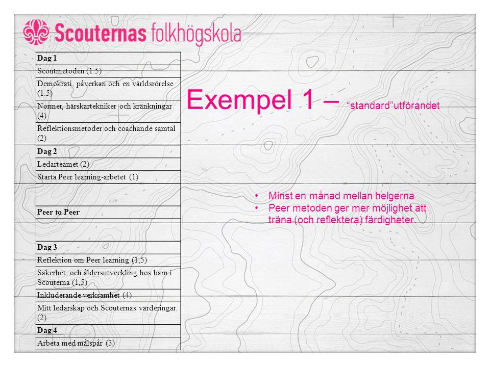 Exempel 1 – standard utförandet Dag 1 Scoutmetoden (1.5) Demokrati, påverkan och en världsrörelse (1.5) Normer, härskartekniker och kränkningar (4) Reflektionsmetoder och coachande samtal (2) Dag 2 Ledarteamet (2) Starta Peer learning-arbetet (1) Peer to Peer Dag 3 Reflektion om Peer learning (1,5) Säkerhet, och åldersutveckling hos barn i Scouterna (1,5) Inkluderande verksamhet (4) Mitt ledarskap och Scouternas värderingar.