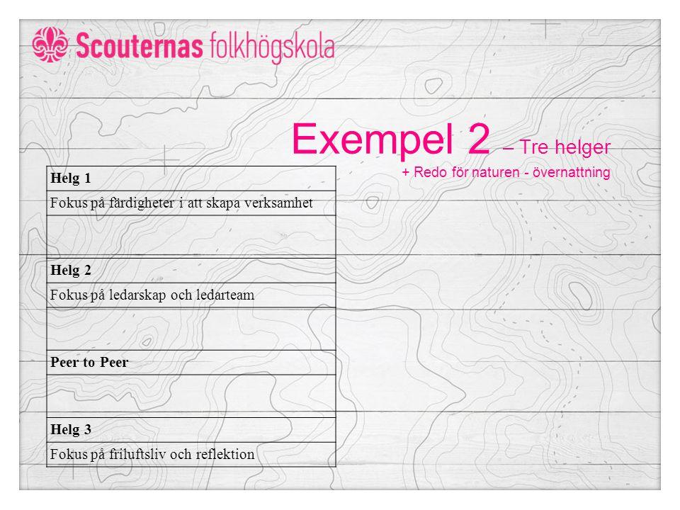 Exempel 2 – Tre helger + Redo för naturen - övernattning Helg 1 Fokus på färdigheter i att skapa verksamhet Helg 2 Fokus på ledarskap och ledarteam Peer to Peer Helg 3 Fokus på friluftsliv och reflektion
