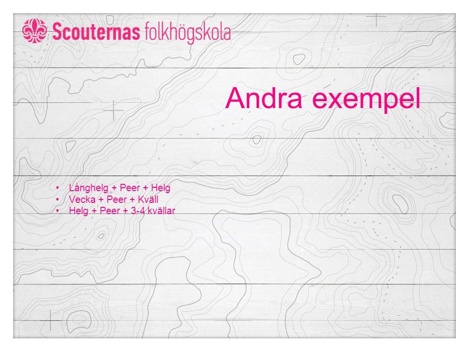Andra exempel Långhelg + Peer + Helg Vecka + Peer + Kväll Helg + Peer + 3-4 kvällar