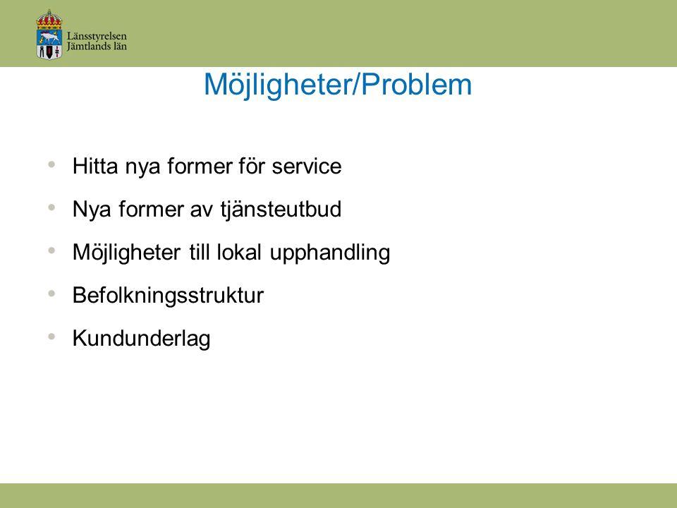 Möjligheter/Problem Hitta nya former för service Nya former av tjänsteutbud Möjligheter till lokal upphandling Befolkningsstruktur Kundunderlag